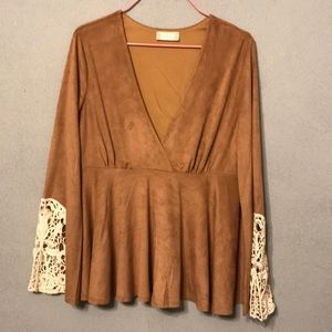 Altar'd State Suede & Lace Peplum Top